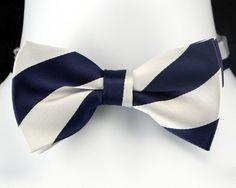 Blue /& Orange Striped Men/'s Bow Tie Adjustable Wedding Frat Tuxedo Gift Him