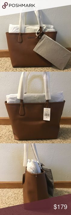 """NWT Michael Kors Tote Michael Kors new with tags, reversible tote handbag. Brown and red Saffiano leather is scratch and water resistant. Zip wallet included. Silver-toned stainless steal Michael Kors lettering and hardware. Bag and wallet is in all original packaging. 2 straps 10"""" drop. Michael Kors Bags Totes"""