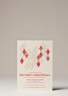 This chic mid century modern wedding invitation suite features bold colors and modern lines, for a sophisticated take on retro geometric.