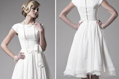 Simple knee-length #second #wedding #dress