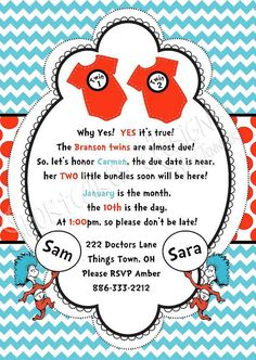 Dr. Seuss Thing 1 And Thing 2 Baby Shower Invite And Registration Card                                                                                                                                                                                 More