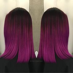 Winter Pink Fuchsia Ombre hair color by @che.r.mariano The cut is fabulous too! #hotonbeauty
