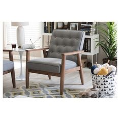 Sorrento Mid - Century Retro Modern Fabric Upholstered Wooden Lounge Chair - Grey - Baxton Studio