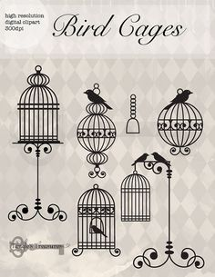 Birdcages Digital Clipart  Printable artwork  by TanglesTreasures, $4.50