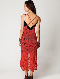 Bohemia Crochet Hollow Spaghetti-neck High-low Maxi Dress