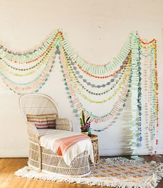 Add color to your nursery with paper garlands.