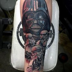 100 Darth Vader Tattoo Designs For Men - Cool Star Wars Ideas Badass Tattoos, Tattoos For Guys, Cool Tattoos, Tatoos, Stormtrooper Tattoo, Darth Vader Tattoo, War Tattoo, Star Wars Tattoo, Young Anakin Skywalker