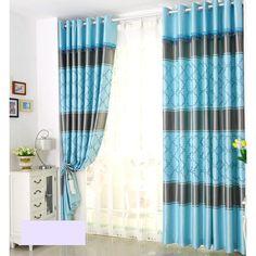 Blue Modern Black Stripes  Geometric Curtains