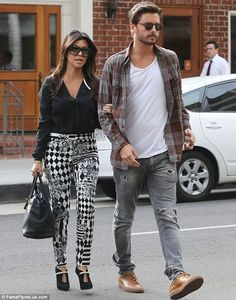 Reality stars: Kourtney Kardashian was joined by boyfriend Scott Disick as they made a run to a coffee shop together