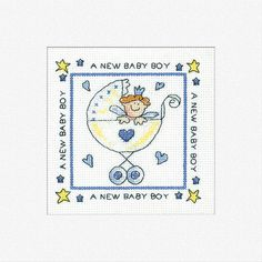 Celebrate the birth of a bouncing baby boy with this cross stitch card kit from Heritage Crafts.