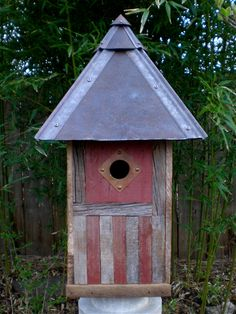 Arts and Crafts Birdhouse Made of Reclaimed by Roundhouseworks, $175.00