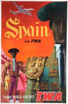 Original Travel Poster TWA Spain David Klein RARE CONSTELLATION 1950s 25x40 Air #Vintage