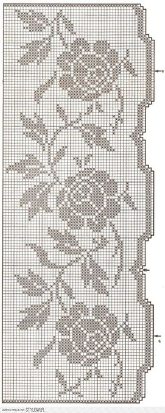 This Pin was discovered by Тво Filet Crochet Charts, Crochet Borders, Knitting Charts, Knitting Yarn, Crochet Stitches, Crochet Patterns, Crochet Curtains, Crochet Tablecloth, Crochet Doilies