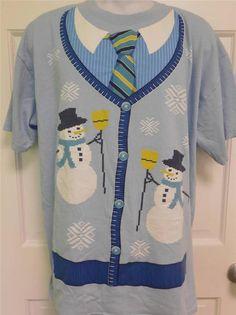 Ugly Christmas Sweater Cardigan Image XL T-Shirt shirt  | eBay