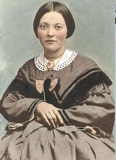 Crim, Eliza Clinedinst.  A woman of the Civil War era. Eliza Clinedinst Crim, b. 1838 d. 1931, (Mother Crim), who helped to care for wounded cadets after the Battle of New Market in May 1864. Tinted copy of a photo taken ca. 1864.  Virginia Military Institute (VMI) Online Photograph Database