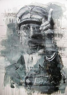 Go Architecture: Kim Byungkwan Drawings Ww1 Art, A Level Art, Art N Craft, Creepy Art, Portraits, Cool Paintings, Military Art, Art Oil, Figurative Art