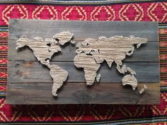 World Map String Art by KarasCornerShop on Etsy