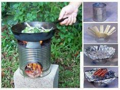 Camping idea! - photo only of improvised camp stove.
