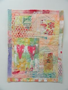 hand painted fabric collage quilt