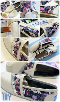 These photographic TOMS by Natalie from My Little Secrets offer a truly unique solution for what to do with those Instagram or vacation photos, and they're a great way to incorporate special memories into your wedding day or everyday wear. Materials: pair of TOMS, your favorite Instagram (or other) photos printed onto regular paper (two sheets of 5 x 7 images will cover approximately two shoes), Mod Podge glue, a paint brush, scissors, and ribbon trim (optional).Position the image onto the…
