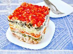 Sałatka warstwowa z kurczakiem Lasagna, Quiche, Breakfast, Ethnic Recipes, Food, Marcel, Asia, Decor, Gastronomia