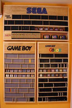Complete Sega Game Gear, Nintendo Game Boy and GBC sets on handmade shelves. Great video game organization via Reddit user NintendoTwizer