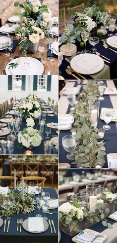 Navy Blue and Greenery Wedding Ideas for 2020 - EmmaLovesWeddings - trending navy blue and greenery wedding centerpiece ideas - Navy Wedding Colors, Popular Wedding Colors, Blue Wedding Flowers, Wedding Color Schemes, Navy Blue Wedding Theme, Navy Blue Flowers, Navy Wedding Centerpieces, Blue Wedding Decorations, Wedding Themes