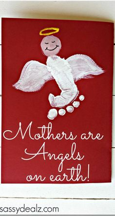 """""""Mothers are Angels on Earth"""" Footprint #MothersDay Card (repinned by Super Simple Songs) #preschool #kidscrafts"""