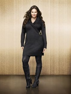 Faux Wrap Sweater Dress. The perfect length for wearing alone or paired with your favorite tights. #LaneBryant