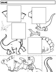 $1 | Color, cut, and match the dinosaur halves. Package includes five no prep worksheets. #preschool #preschoolers #preschoolactivities #kindergarten #Homeschooling #dinosaur #worksheet