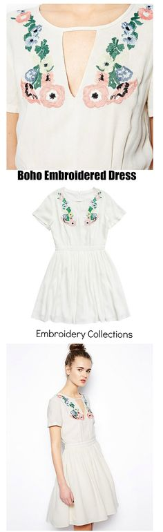 $59 ( Free Shipping Worldwide ) - White Boho Embroidered Dress is Available at Pasaboho. Fashion trend and styles from hippie chic, modern vintage, gypsy style, boho chic, hmong ethnic, street style, geometric and floral outfits. We Love boho style and embroidery stitches. Hippie girls with free spirit sharing woman outfit ideas and bohemian clothes, cute dresses and skirts.