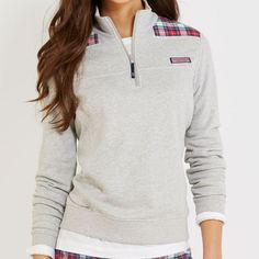 Vineyard Vines Women's Shep Shirt - Grey with Plaid - Nowells Clothiers - size large Supernatural Style Vineyard Vines Shep Shirt, Vineyard Vines Women, Vineyard Vines Outfits, Vinyard Vines, Preppy Style, Style Me, Preppy Casual, Fall Winter Outfits, Autumn Winter Fashion
