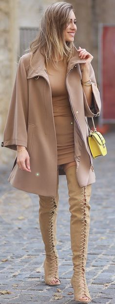 Lace Up Thigh High Boots Shades Of Tan Fall autumn women fashion outfit clothing stylish apparel @roressclothes closet ideas