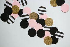 Fard à joues rose, or noir rayé douche de bébé/bridal confetti Paris cercle confetti / 1er anniversaire confetti/mariage confetti Paris fête confetti
