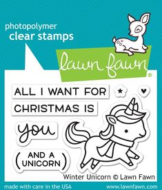 RESERVE Lawn Fawn WINTER UNICORN Clear Stamps LF1218 zoom image
