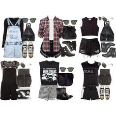 A fashion look from July 2013 featuring button-down shirt, punk shirts and sleeveless shirts. Browse and shop related looks. Cute Emo Outfits, Komplette Outfits, Teen Fashion Outfits, Grunge Outfits, Outfits For Teens, Look Fashion, Summer Outfits, Womens Fashion, Grunge Fashion