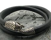 FREE SHIPPING Men's Bracelet. Men Leather Bracelet Black multi strad Men leather bracelet with silver plated snake clasp