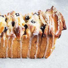 Blueberry Lemon Pull Apart Bread - Seasons and Suppers Best Pork Loin Recipe, Lemon Curd Pavlova, Bread Recipes, Cooking Recipes, Cake Recipes, Frozen Bread Dough, Pear Cake, Pull Apart Bread, Butter Pecan