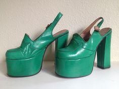 f3c58b76e70 Vintage Leather Platform Shoes Green 1970  Platform Vintage Shoes Women