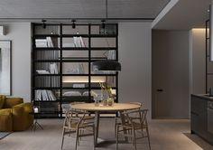 designer : S. Gotvyansky M. Dark Living Rooms, Cottage Living Rooms, Living Room Shelves, Elegant Living Room, Home And Living, Living Spaces, Modern Apartment Design, Modern Home Interior Design, Loft