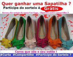 Quer ganhar uma linda sapatilha? Participe do sorteio? É grátis !! www.curtisorteios.com/sorteios/6314
