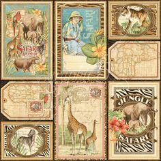 Vertical Safari Adventure Journaling & Ephemera Cards #graphic45
