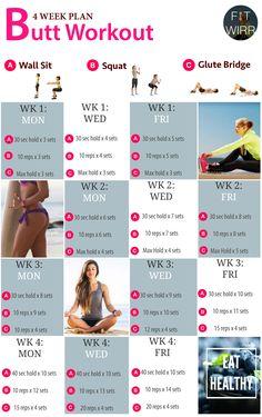 4 Week Butt Lift Bodyweight Workout Challenge. Beginner's Bodyweight Butt Lift Workout Routines to Your Brazilian Bodacious Booty - www.fitwirr.com #weightlosssmoothies #cardioworkoutbeginner