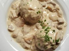 There's no heavy cream or canned soup in these SWEDISH MEATBALLS with a yummy CREAMY DILL SAUCE ~ but still lots of flavor. We're just saving those extra calories so you can splurge and serve them. White Gravy Recipe, White Sauce Recipes, Meatball Recipes, Pork Recipes, Cooking Recipes, Turkey Recipes, Swedish Meatball Sauce, Creamy Dill Sauce, Portuguese Recipes