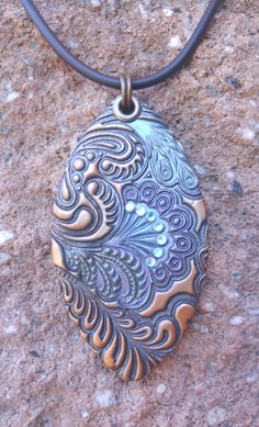 Teardrop Rustic Polymer Clay Pendant hippie boho by HMArtwares