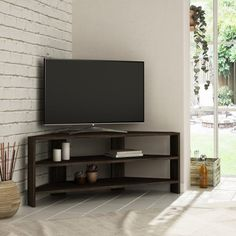 This modern corner TV stand is the perfect solution to maximize space and showcase your belongings. The streamlined design will add a touch of contemporary style to any décor. Manufactured from melamine coated engineered wood for strength and durability. Curved Tv Stand, Modern Corner Tv Stand, Curved Tvs, Corner Tv Stand Ideas, Corner Tv Stands, Living Room Tv, Living Room Furniture, Corner Tv Cabinets, Corner Tv Unit