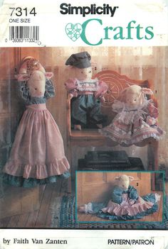 Simplicity Crafts 7314 Sewing Pattern for Boy and Girl Lamb Dolls in 2 sizes by CarlasHope on Etsy