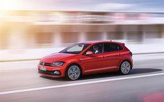 Descargar fondos de pantalla Volkswagen Polo GTI, 2018, el Nuevo polo, rojo, berlinas, coches alemanes, Volkswagen