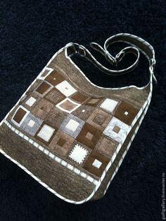 """Купить Сумка ,, Лукошко """" - коричневый, орнамент, авторская работа, пэчворк и квилтинг, летняя, лоскутная"""