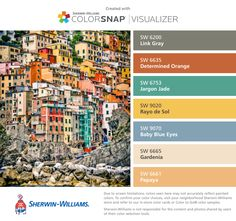 I found these colors with ColorSnap® Visualizer for iPhone by Sherwin-Williams: Link Gray (SW 6200), Determined Orange (SW 6635), Jargon Jade (SW 6753), Rayo de Sol (SW 9020), Baby Blue Eyes (SW 9070), Gardenia (SW 6665), Papaya (SW 6661).